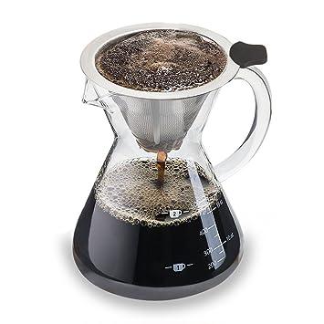 Luxebell 500ml Cafetera de Goteo de Cristal, Jarra de Café con Filtro Permanente de Acero Inoxidable: Amazon.es: Hogar