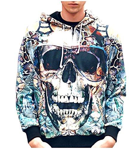 Tootlessly Men's Skull Halloween Digital Print Tops Outwear Sweatshirts As Picture L