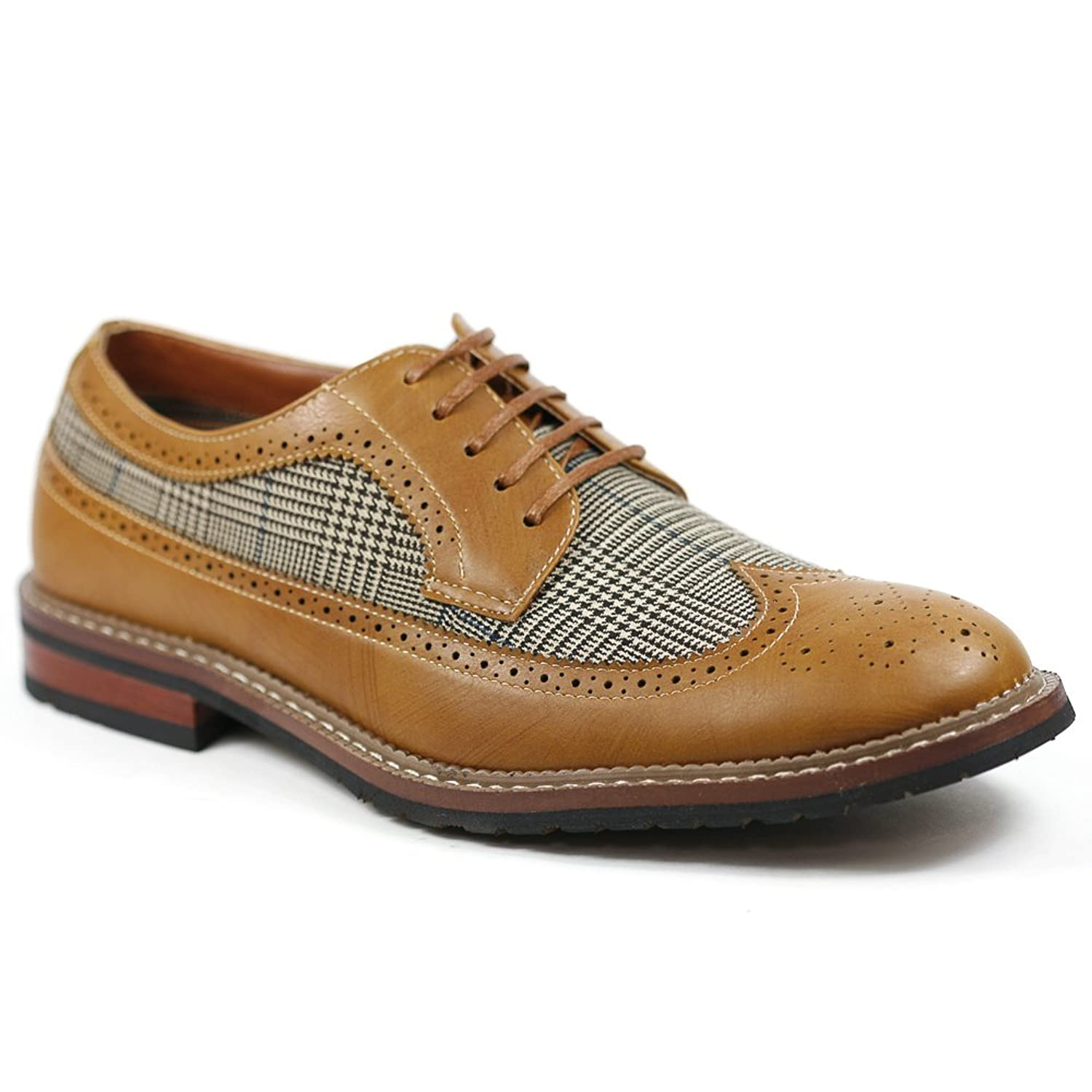 Mens Vintage Style Shoes| Retro Classic Shoes Houndstooth Mens Oxford Dress Classic Shoes $34.99 AT vintagedancer.com