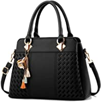 LHKFNU Fashion Women Handbags Tassel PU Leather Totes Bag Top-handle Embroidery Crossbody Bag Shoulder Bag Lady Simple Style Hand Bags