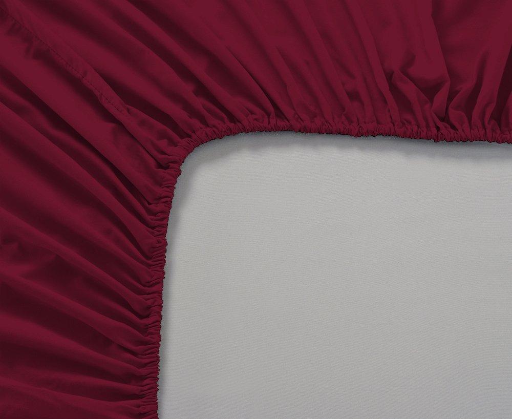 Queen, Plum Fits Mattress Upto 18 Mayfair Linen 100/% Egyptian Cotton Sateen Weave 800 Thread Count Fitted Sheet Elastic All Around