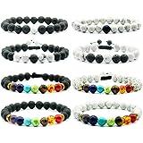 Creatiees 8 Pieces Men Women Howlite Bracelet Lava Stone Diffuser Bracelet, Couples Bracelet with 7 Colors Chakra Beads Aromatherapy Bracelet Set for Essential Oil