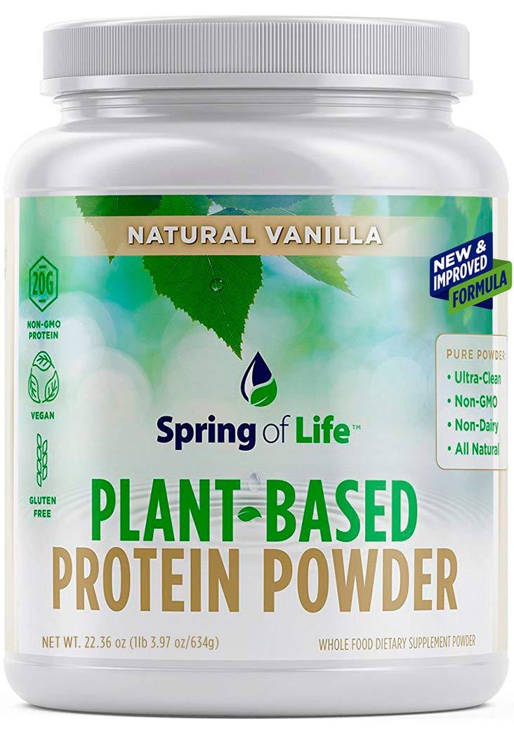 Spring Of Life Plant-Based Protein Powder, Vegan, Non-GMO, Hypoallergenic, Vanilla, 22 Serves