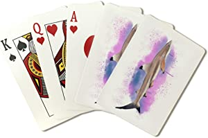 Blacktip Reef Shark - Watercolor (Playing Card Deck - 52 Card Poker Size with Jokers)