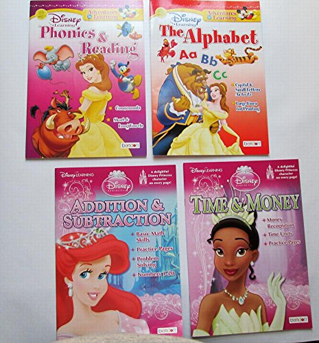 Set Journal Math (Set of 4 Disney Princess Activity Workbooks Reading Math Spelling Alphabet - Journal - Finish the Scene - Coloring Book)