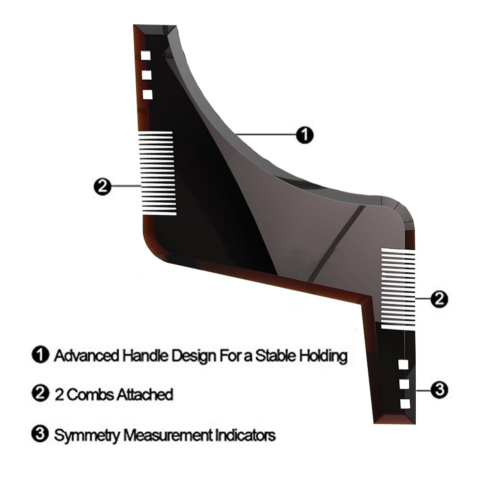 Beard Shaping Tool Template,IOQSOF Beard Shaping & Styling Tool with Inbuilt Comb for Perfect Line Up & Edging, Use with a Beard Trimmer or Razor to Style Your Beard & Facial Hair