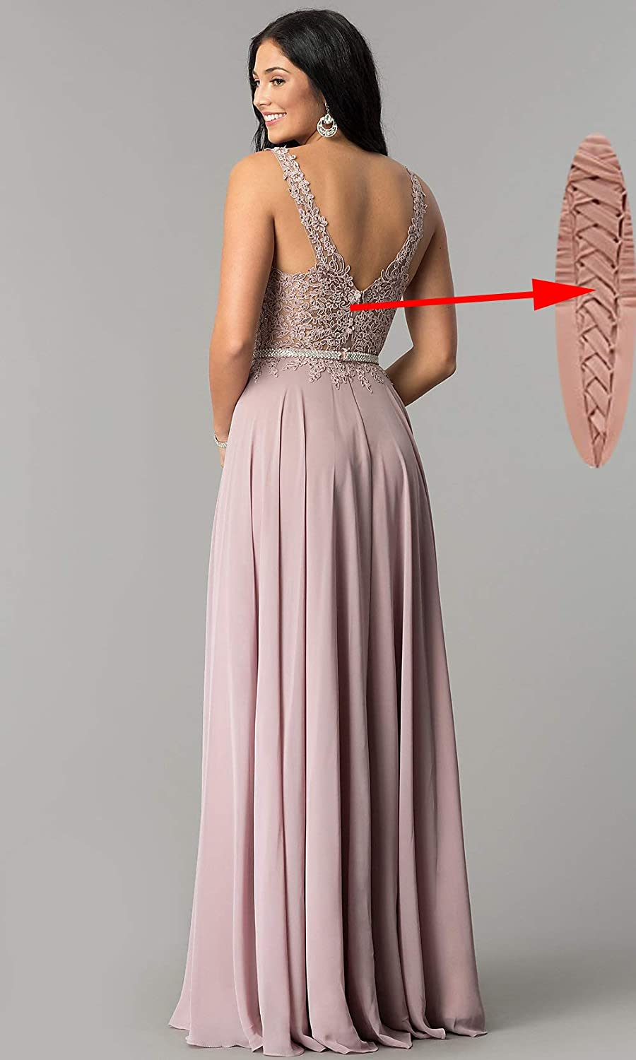 Women's A Line V Neck Lace Bodice Chiffon Prom Dresses Long Formal Evening Gown Dusty Pink