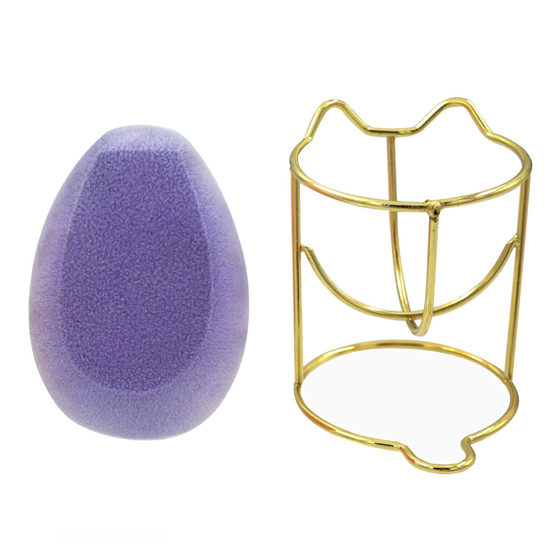 Microfiber Velvet Sponge Non-latex Powder Puff Free Vegan Soft Flawless Streak-free Foundation Blender with Beauty Sponge Holder Microfiber with Dual Layer Structure Latex-Free Beauty Blender