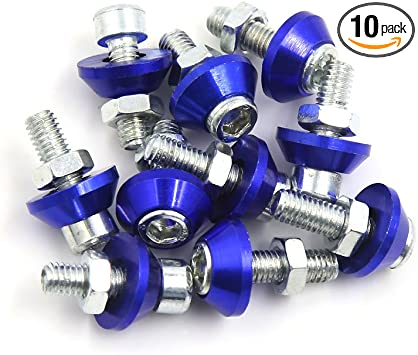 Car number plate nuts and bolts BLUE Pack of 10
