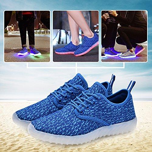 Low Fabric USB Sneakers KEALUX amp;blue Kids up Breathe Sport Black Charge LED Top Shoes Lace 0PZwqSPx