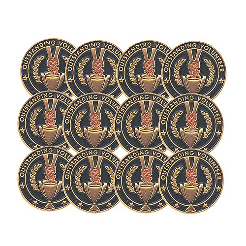 (3/4 Inch Outstanding Volunteer Lapel Pin - Package of 12, Poly Bagged)