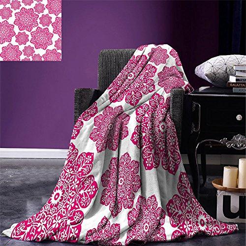 - smallbeefly Hot Pink Digital Printing Blanket Ethnic Batik Floral Arrangement with Eastern Inspired Art Design Batik Pattern Summer Quilt Comforter Hot Pink White