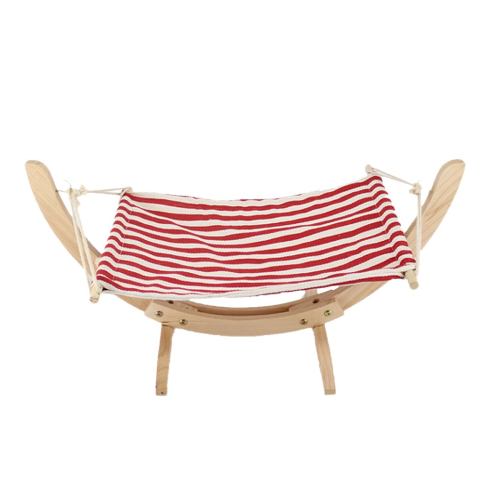 Red Stripe Dovewill Pet Hammock with Wood Frame for Small Animals Cats Perch Seat Hanging Beds Lounger Soft Sleeping Bed, 4 colors Pick Red Stripe