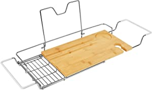 ToiletTree Products Stainless Steel and Bamboo Bathtub Caddy with Extending Sides and Book Holder