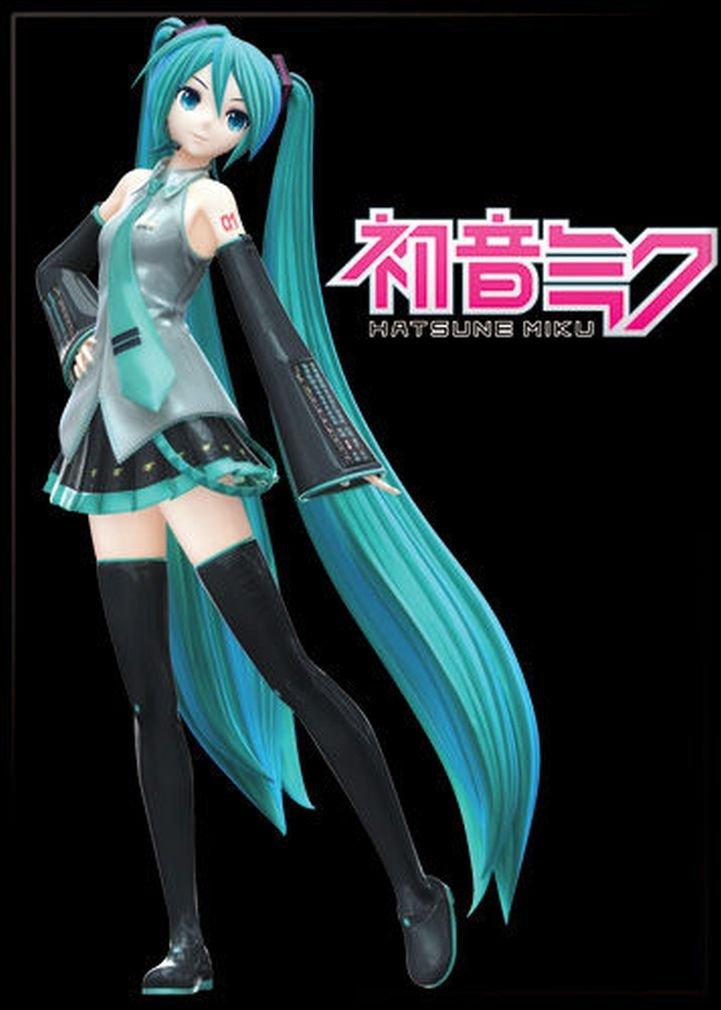 "Ata-Boy Hatsune Miku on Black 2.5"" x 3.5"" Magnet for Refrigerators and Lockers"
