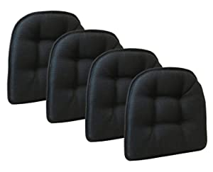 Klear Vu Omega Gripper Tufted Furniture Safe Non-Slip Dining Chair Cushion, Midnight Black, 4-Pack