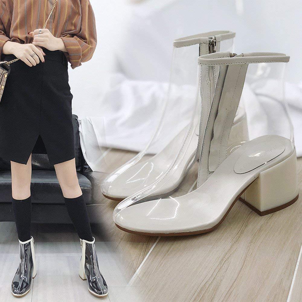 ZHRUI ZHRUI ZHRUI Damenstiefel Stiefeletten Damen Sandalen Transparent Gladiator Peep Toe Schuhe Heels Frauen Stiefeletten Casual Stiefel Freizeit (Farbe   Weiß, Größe   37 EU) 178f43