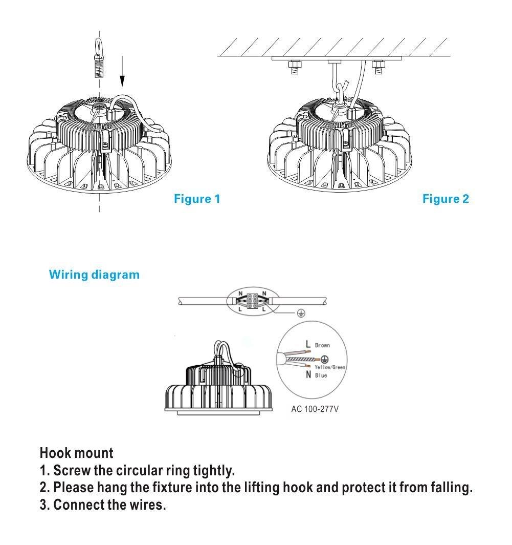 grandlumen 150w ufo led high bay light etl certified replacement rh amazon com LED Light Bar Wiring Diagram 12V LED Light Circuit Diagram