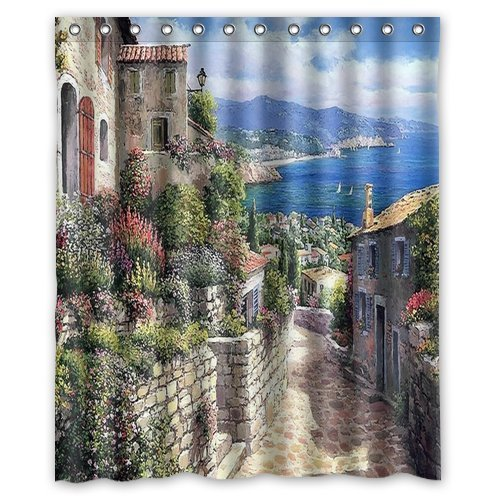 Custom Popular Shower Curtains Beautiful watercolor Italian town Shower Curtains 60