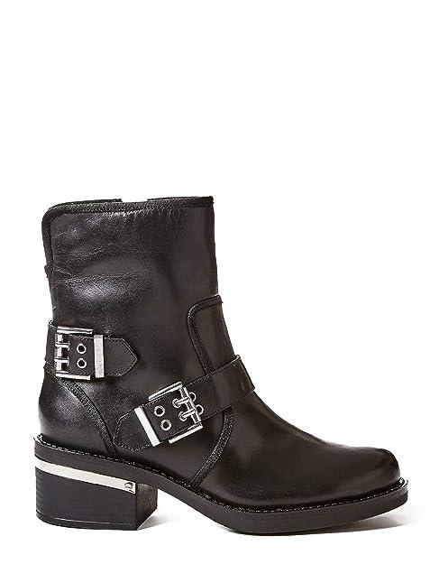 GUESS Botas Negras Piel Hebillas Moteras FIGI  Amazon.es  Zapatos y  complementos 9355f202d2e57