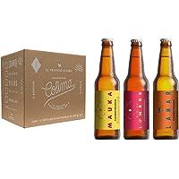 12 Pack con 4 cervezas en botella de Lahar, 4 cervezas en botella Río de Lumbre y 4 cervezas en botella de Mauka