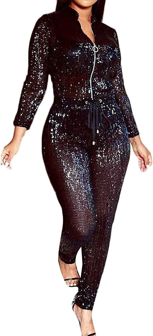 Cromoncent Womens Fashion Long Sleeve Zip Sequins Shiny Long Rompers Jumpsuits