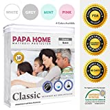 Papahome Classic Hypoallergenic Mattress Protector - Lab Tested Waterproof - Fitted Polyester Jersey Cover - Vinyl Free - 4 Different Colors Available (Twin, White)