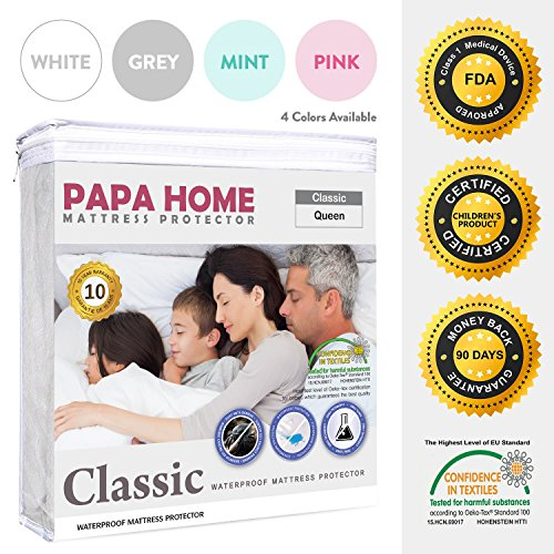 Papahome Classic Hypoallergenic Mattress Protector - Lab Tested Waterproof - Fitted Polyester Jersey Cover - Vinyl Free - 4 Different Colors Available (Queen, White)