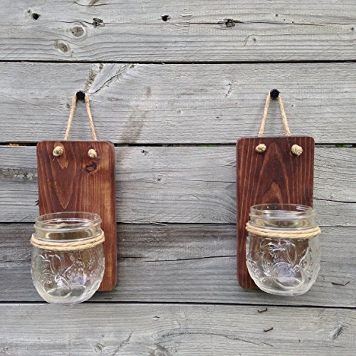 Set of Two Tennessee Wicks Small Mason Jar Wall Sconce with 8oz Jelly Jam Mason Jars (Mason Wall Jar Light Sconce)