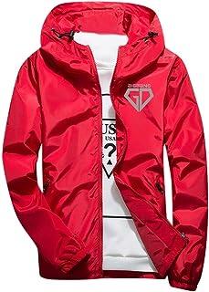 Allywit Men Windbreaker,M-7XL Winter Windproof Hoodie Lightweight Plus Size Jacket Big and Tall