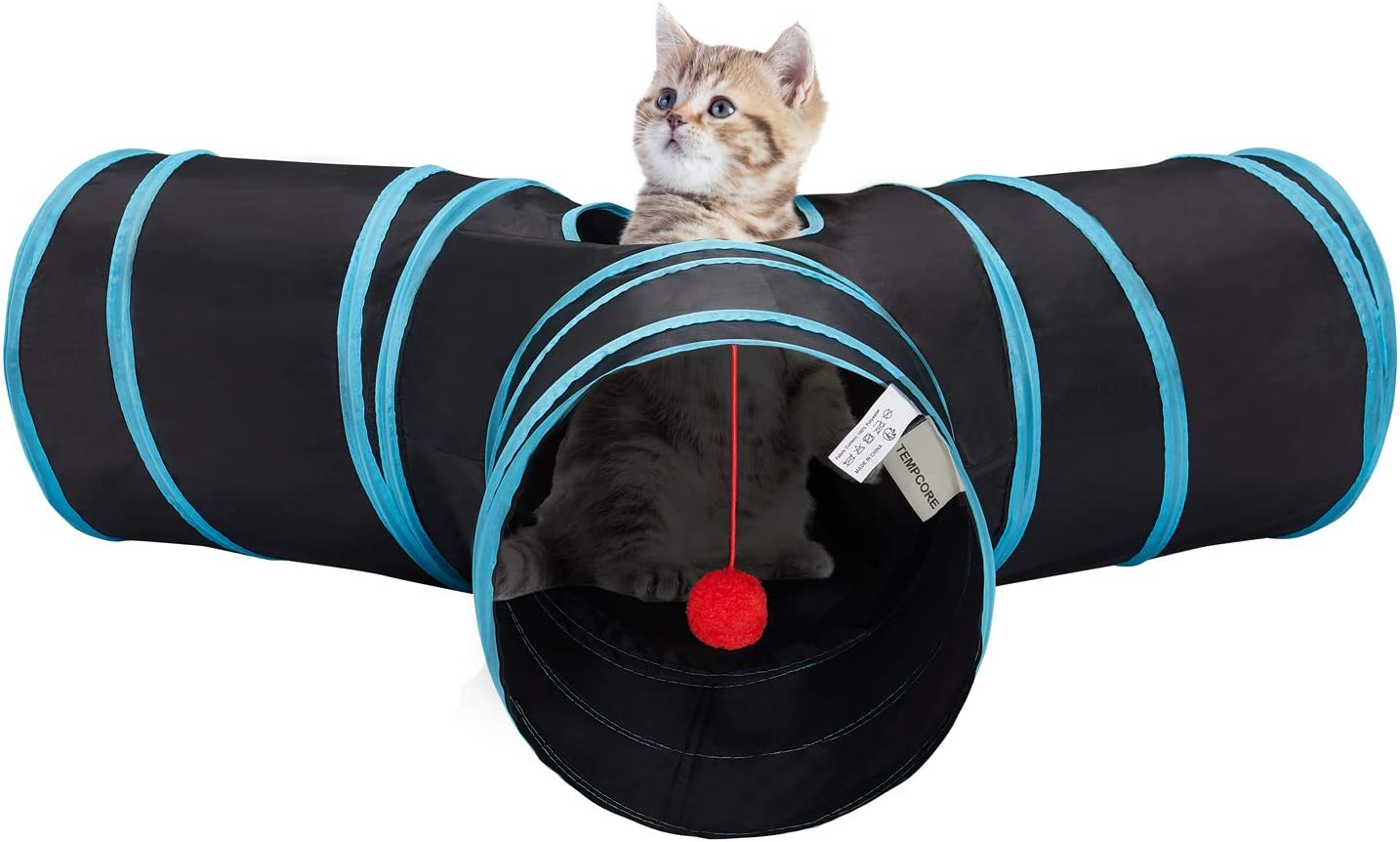 GOHOO PET Cat Tunnel Pop-up Crinkle Paper Pet Tube Collapsible Pet Tunnel Interactive Play Toy with Peekaboo Holes