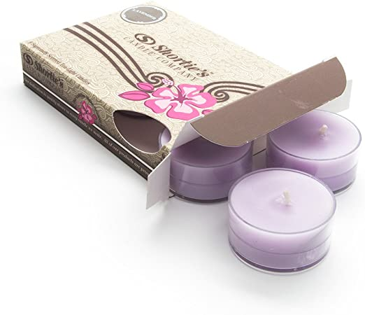 20 Soy  Wax Hand Made T Lights  Lavender Essential Oil And Lavender Flowers .
