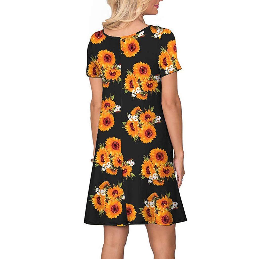 Ansenesna Womens Party Elegant Short Sleeve Sunflower Pockets Sundress Swing Dress