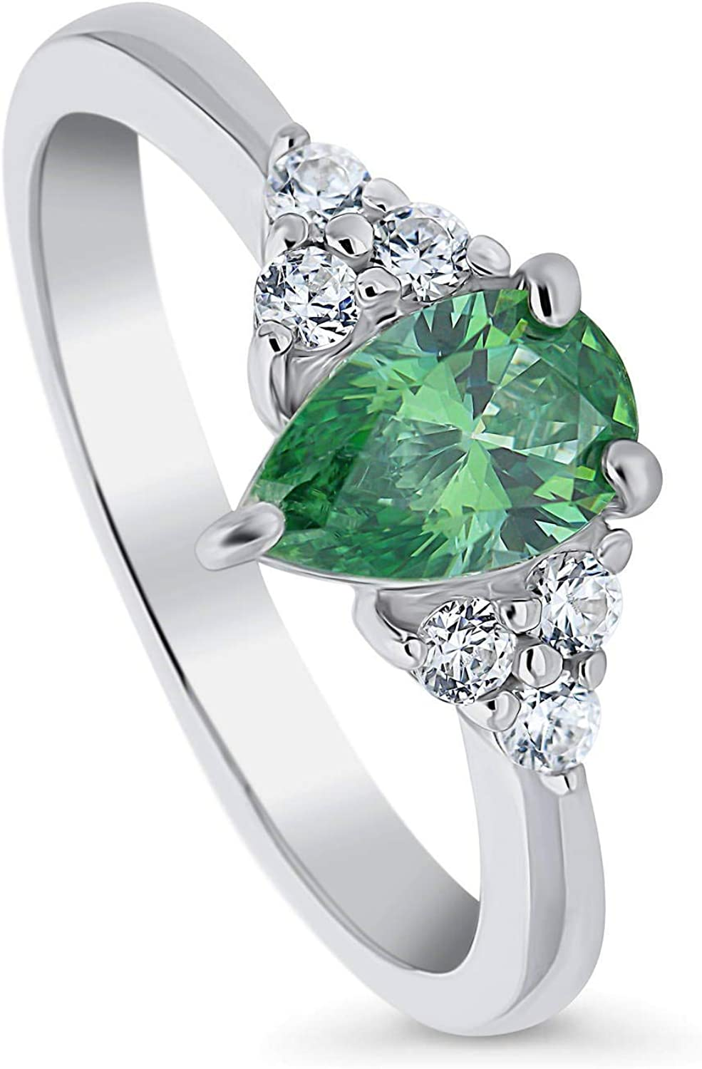 BERRICLE Rhodium Plated Sterling Silver Solitaire Promise Ring Made with Swarovski Zirconia Green Pear Cut