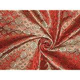 Brocado tela Tomate Rojo, oro y negro, pasatiempos, casa decoración, costura,