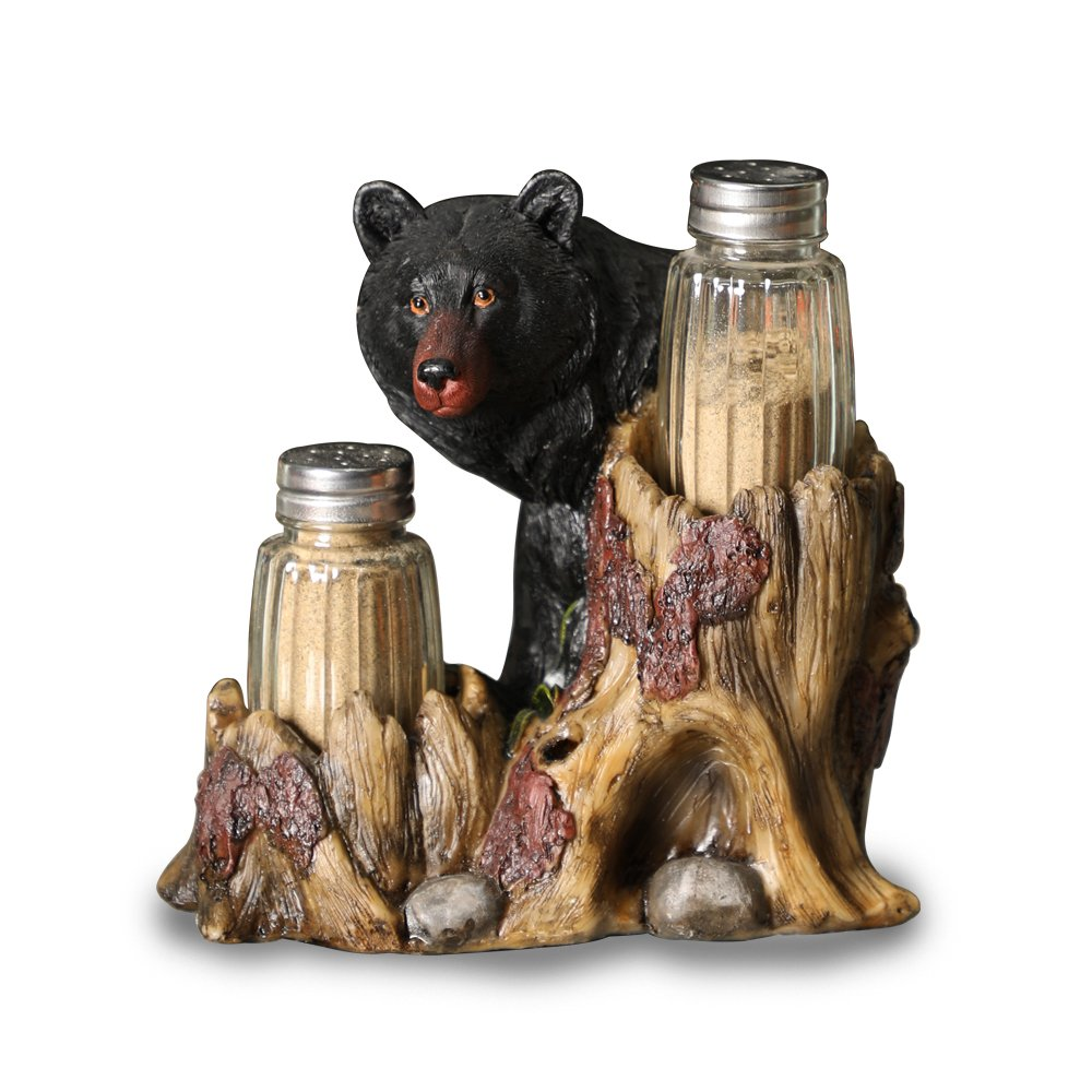 ARAIDECOR Curious Black Bear Salt and Pepper Holder Sculpture Home Décor or Restaurant Setting Statue - 6 x 6 Inches (Black Bear)