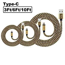 SEGMOI(TM) 3Pack 3Ft 6Ft 10Ft Rugged Bold Nylon Braided USB Type-C to USB 2.0 A Male Data Charging Sync Cable Reversible Connector Charger Cord for LG G5, Nexus 6P 5X, HTC 10, Oneplus 2 3,Letv (Gold)