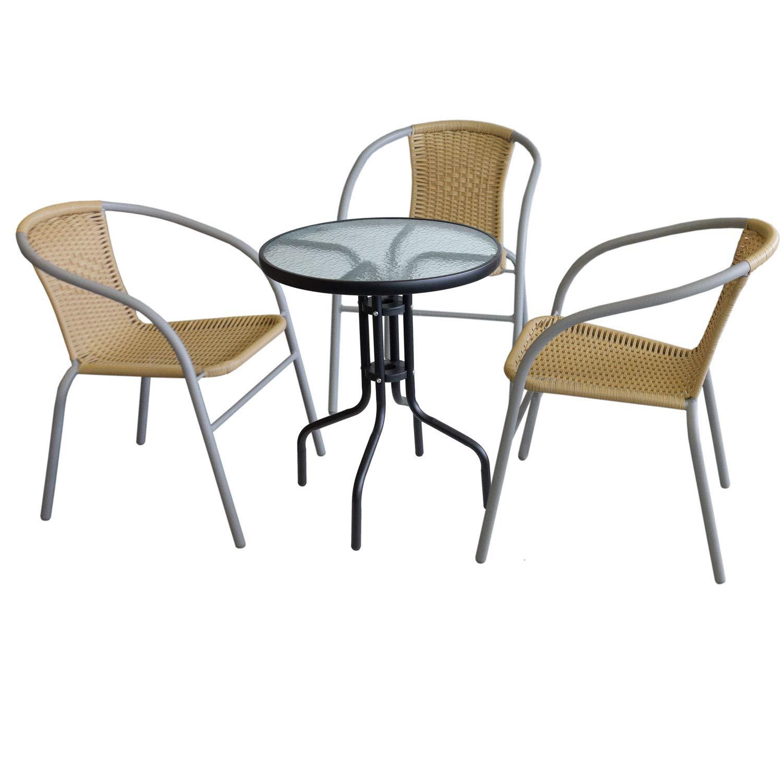 Wohaga 4tlg. Sitzgruppe Glastisch Ø60cm rund Schwarz + 3xBistrostuhl stapelbar, Polyrattanbespannung Beige, pulverbeschichtetes Metallgestell Grau