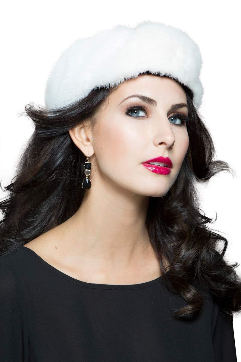 EM-EL Women's White Mink Fur Headband (OSFM)