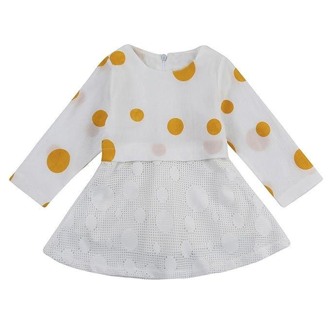 e370aefbe9ab VIASA Newborn Baby Girl Long Sleeve Round Neck Polka Dot Lace Gauze ...