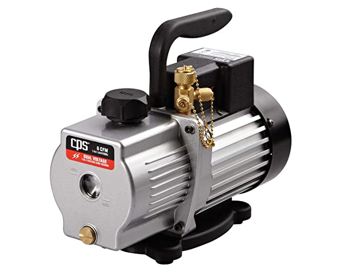 CPS Pro Set VP6S Premium Series 6 CFM Single-Stage Vacuum Pump, Dual Voltage with Gas Ballast Valve, 115 / 230V