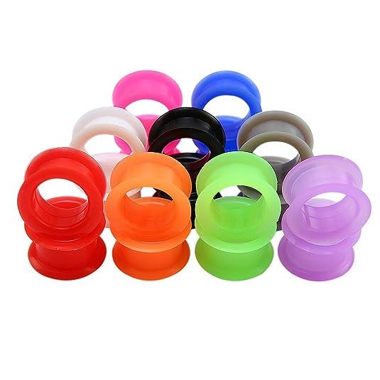 ZeSen Jewelry 9 Paare Mix Farbe Silikon Flexible Doble Ausgestelltes Ohrstöpsel Tunnels Expander Ohrstöpsel Piercing