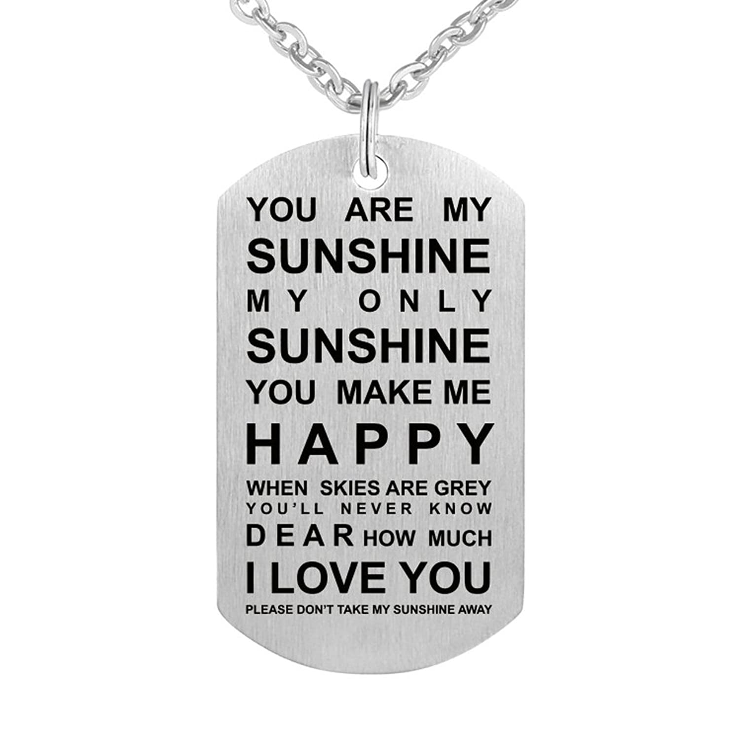 Inspirational Love Gift To My Love You Are My Sunshine Stainless Steel Dog Tag Pendant Necklace Keychain