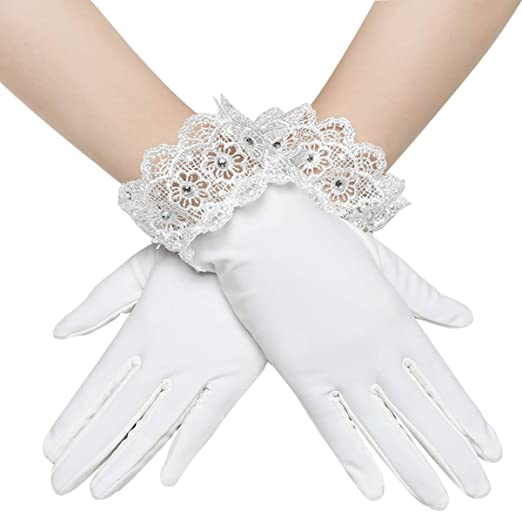 1920s' Vintage Accessories Costumes Sliver Flapper Gloves for Opera Wedding