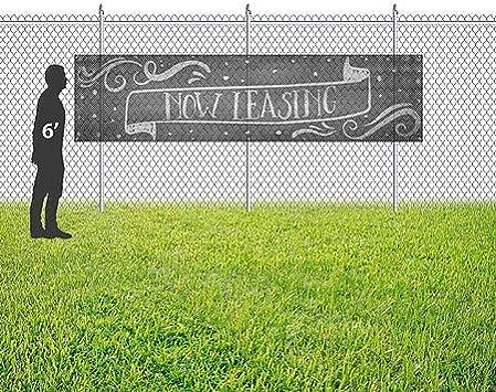 Chalk Banner Wind-Resistant Outdoor Mesh Vinyl Banner Now Leasing CGSignLab 12x3