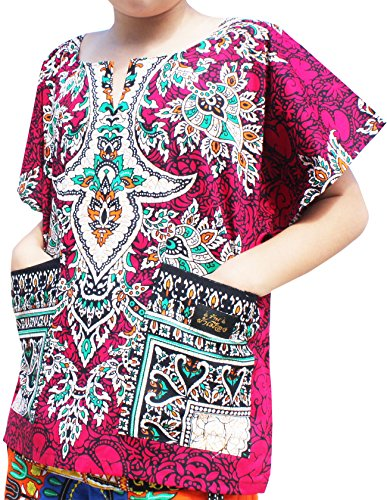 Raan Pah Muang Bright Kaftan Boubou Africa Short Sleeve Childs Unisex Shirt, 6-8 Years, Ruby Pink