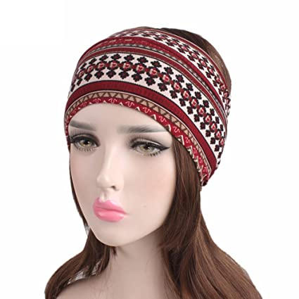 Amazon.com  Wcysin Men s Women s Turban Headband Bohemian Yoga Hair ... 2d1afac59f7