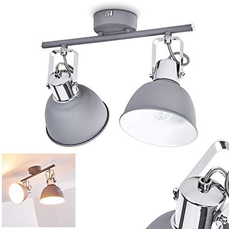 Leseleuchte Wohnzimmerleuchte Vintage Graue Retro Stehlampe verstellbar mit LED