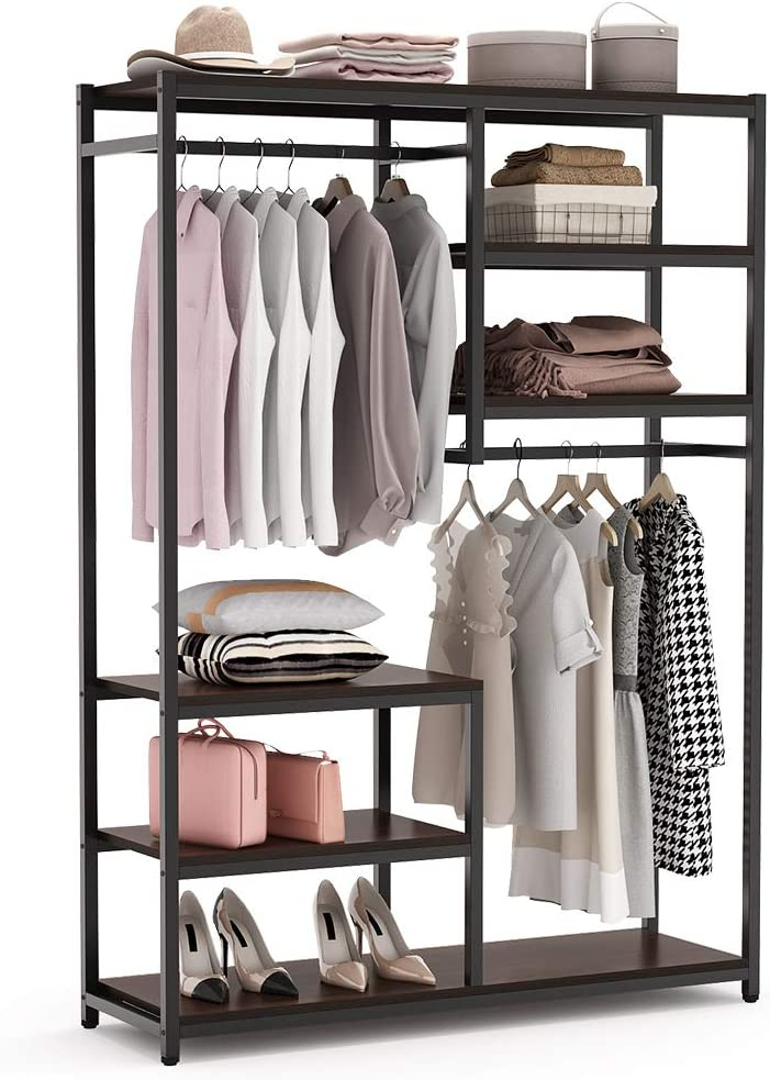 Tribesigns Free standing Closet Organizer, Double Hanging Rod Clothes Garment Racks with Storage Shelves, Heavy Duty Metal Closet Storage Clothing Shelving for Bedroom, Capacity 250 lbs,