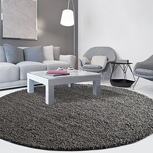 ICustomRug Cozy Soft And Plush Pile, (4u0027 Diameter) Round Shag Area Rug In  Charcoal / Dark Grey